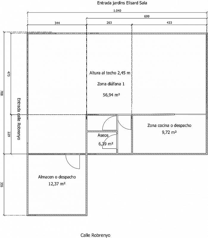 Plano - Local comercial en alquiler en calle Robrenyo, Sants en Barcelona - 282368283