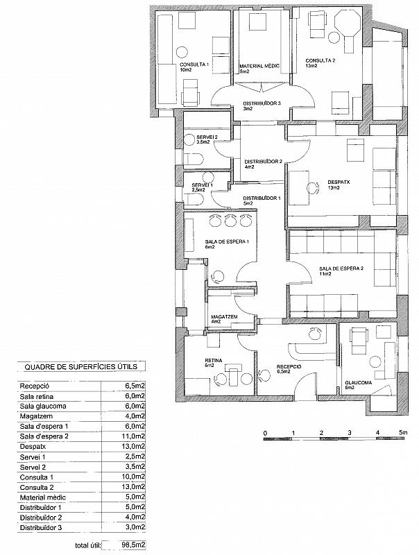 Plano - Oficina en alquiler en calle Rector Ubach, Sant Gervasi – Galvany en Barcelona - 156471072