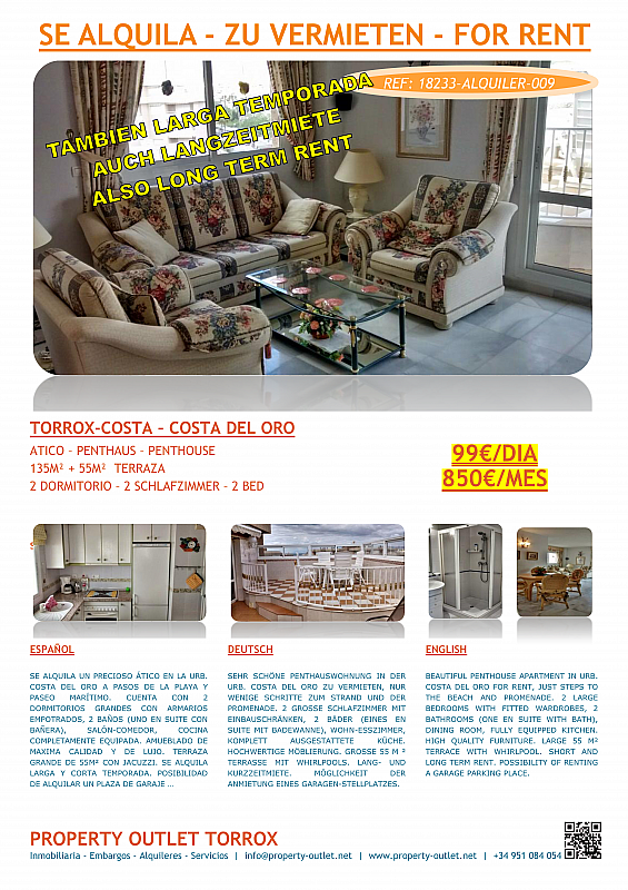 Ático en alquiler en urbanización Costa del Oro, Torrox-Costa en Torrox - 199880487