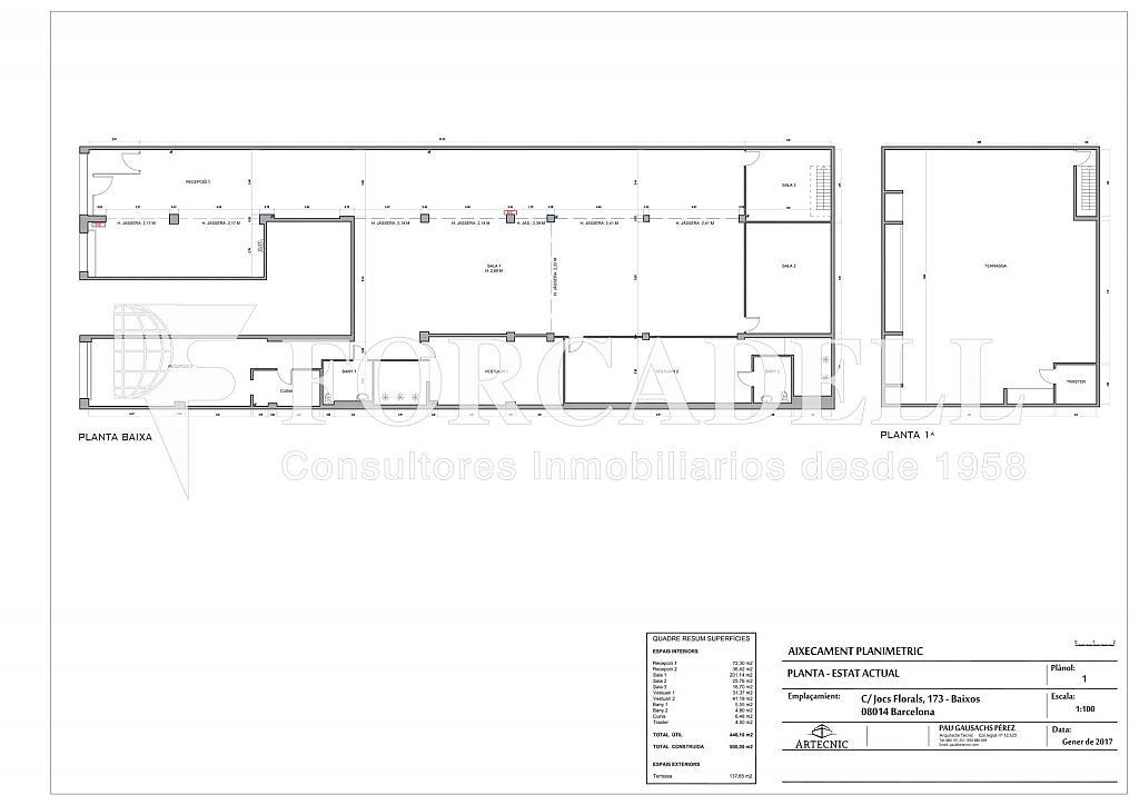PLANO JOCS FLORALS 173 LOCAL-001 - Local comercial en alquiler en La Bordeta en Barcelona - 381773543