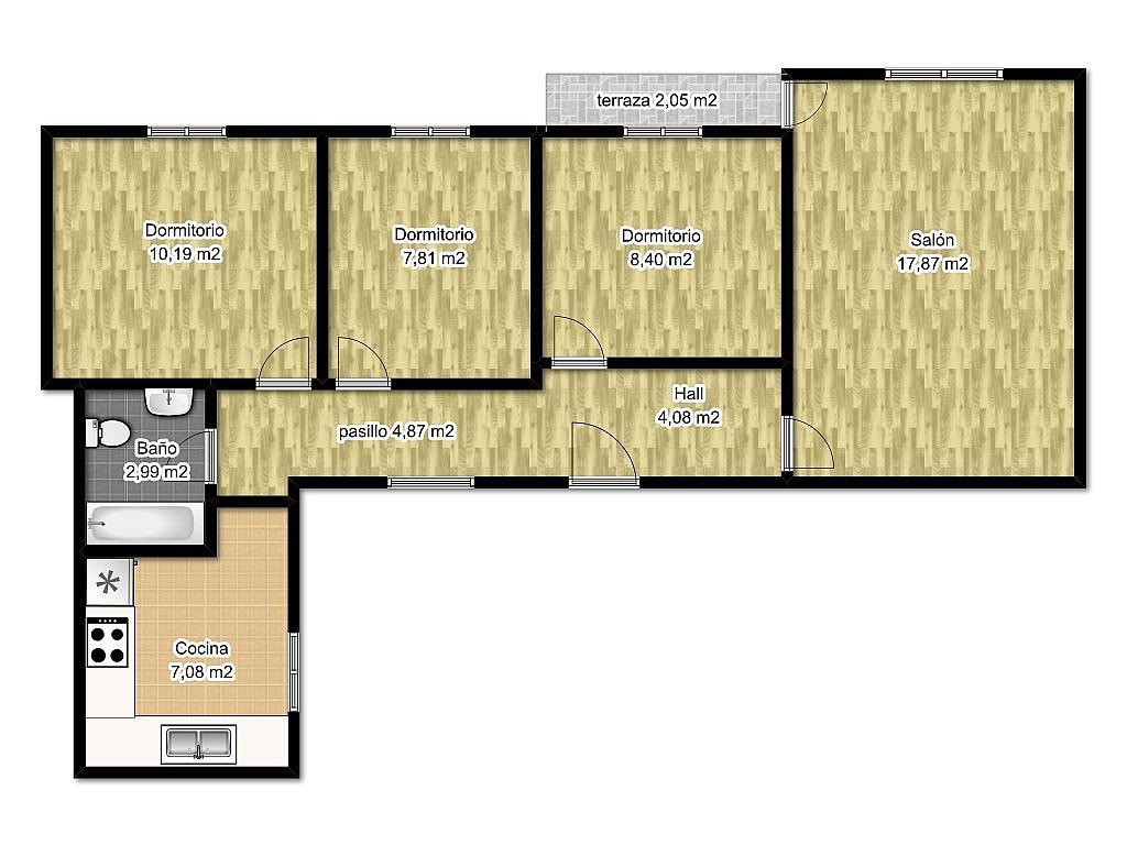 Plano - Piso en alquiler en calle Peña de Francia, Zamora - 138696937